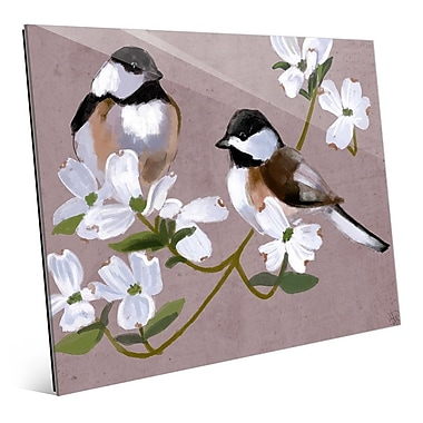 Click Wall Art 'Two Chickadees' Painting Print; 16'' H x 20'' W x 1'' D