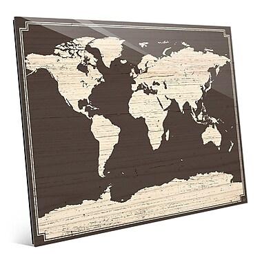 Click Wall Art 'World Map on Dark Wood' Graphic Art; 20'' H x 24'' W x 1'' D