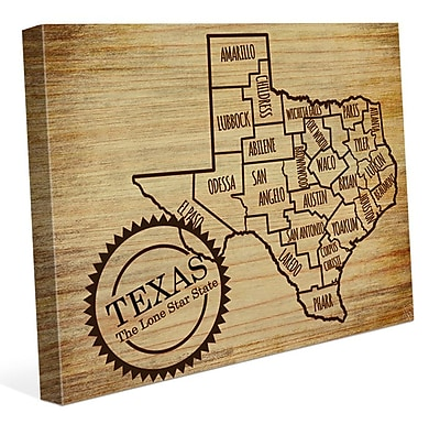 Click Wall Art 'The Lone Star State' Graphic Art on Wrapped Canvas; 20'' H x 30'' W x 1.5'' D