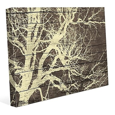 Click Wall Art 'Tree Silhouette on Wood' Graphic Art on Wrapped Canvas; 20'' H x 30'' W x 1.5'' D