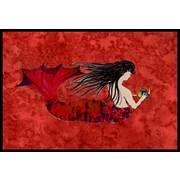 Caroline's Treasures Haired Mermaid on Red Doormat; 1'6'' x 2'3''