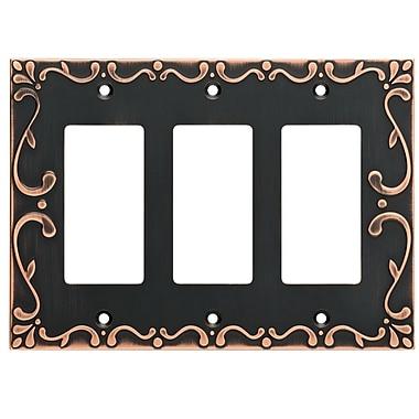Franklin Brass Classic Lace Triple Decorator Wall Plate; Bronze/Copper