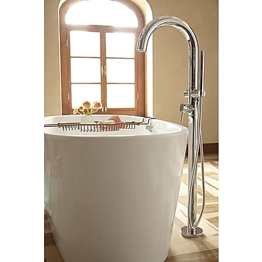 American Standard Single Handle Floor Mount Tub Filler w/ Personal Shower; Polished Chrome