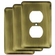 Franklin Brass Stamped Round 1 Gang Duplex Wall Plate (Set of 3); Antique Brass
