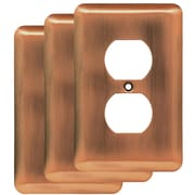 Franklin Brass Stamped Round 1 Gang Duplex Wall Plate (Set of 3); Antique Copper