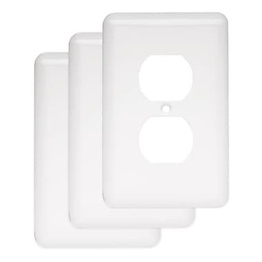 Franklin Brass Stamped Round 1 Gang Duplex Wall Plate (Set of 3); White
