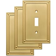 Franklin Brass Classic Beaded Single Switch Wall Plate (Set of 3); Brushed Brass