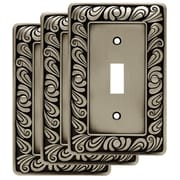 Franklin Brass Paisley Single Switch Wall Plate (Set of 3); Brushed Satin Pewter