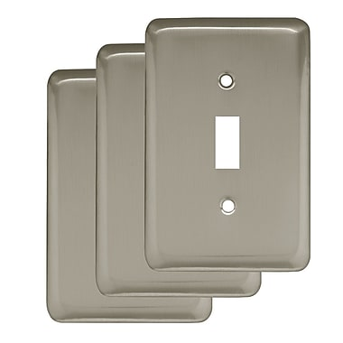 Franklin Brass Stamped Round Single Switch Wall Plate (Set of 3); Satin Nickel