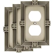 Franklin Brass Pineapple 1 Gang Duplex Wall Plate (Set of 3); Brushed Satin Pewter