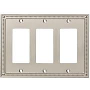 Franklin Brass Classic Beaded Triple Decorator Wall Plate; Satin Nickel