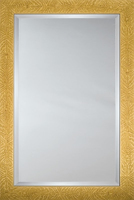 Mirror Image Home Mirror Style 8025 - Honey Finish w/ Tropical Leaf Design; 28.5'' H x 40.5'' W