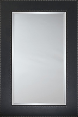 Mirror Image Home Mirror Style 80923 - Black Leather Flat Face; 31'' H x 43'' W