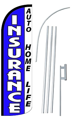 NeoPlex Insuranc Swooper Flag and Flagpole Set; Blue/White
