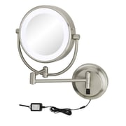 Kimball & Young Neo Modern Double-Sided LED Lighted Wall Mounted Mirror; Brushed Nickel