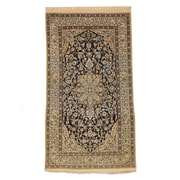 Eastern Rugs Naiin Hand-Knotted Ivory/Navy Blue Area Rug