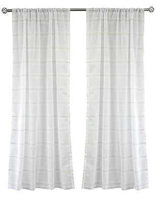 Lite Out Lite Out Striped Sheer Rod pocket Curtain Panels (Set of 2); Green
