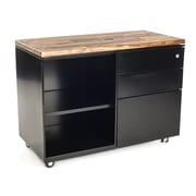 Urban 9-5 3 Drawer Metal Accent Cabinet; Vintage Brown Stained