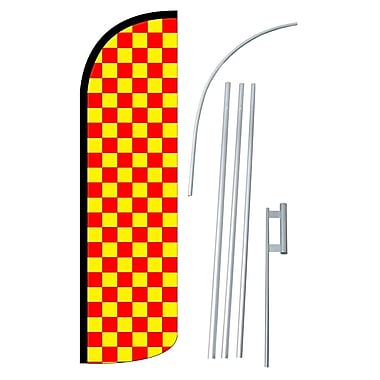 NeoPlex Checkered Swooper Flag and Flagpole Set; Red/Yellow