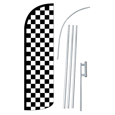NeoPlex Checkered Swooper Flag and Flagpole Set; Black/White