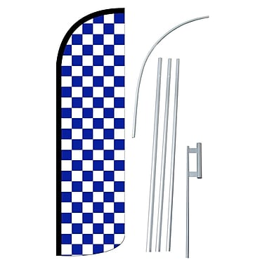 NeoPlex Checkered Swooper Flag and Flagpole Set; Blue/White