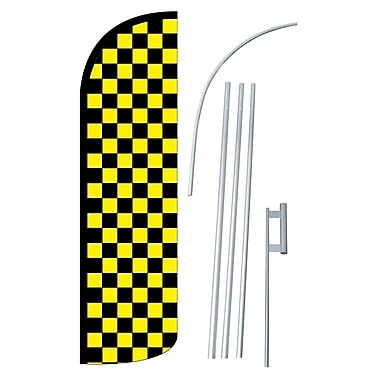 NeoPlex Checkered Swooper Flag and Flagpole Set; Black/Yellow