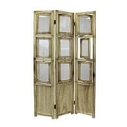 eHemco 63.75'' x 37'' 3 Panel Room Divider; Natural Oiled