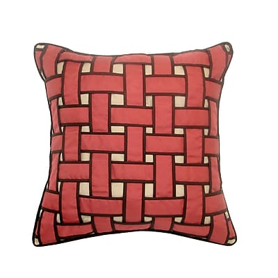 Edie Inc. Basket Weave Outdoor Throw Pillow; Neutral
