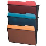 "Fellowes® Mesh Partition Additions™ Triple File Pocket, Black, 23 1/4""H x 12 5/8""W x 8 1/4""D"