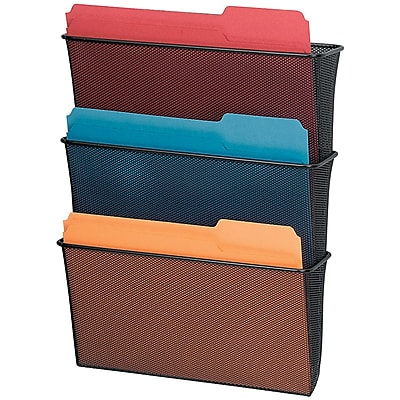 "Fellowes® Mesh Partition Additions™ Triple File Pocket, Black, 23 1/4""H x 12 5/8""W x 8 1/4""D"
