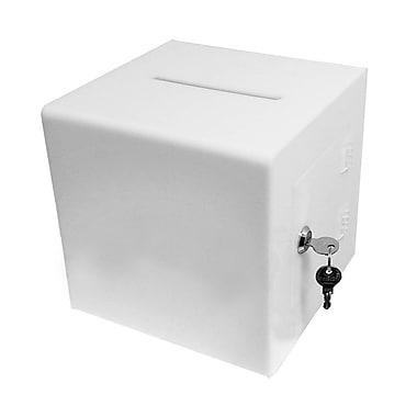 FuTECH – Urne en acrylique blanc avec serrure, 8 po (BBOX010W)