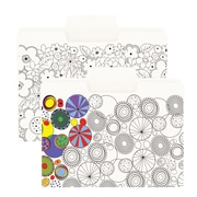 Smead SuperTab® Coloring Folder, Oversized 1/3-Cut Tabs, Letter Size, 2 Designs (florals & circles), 6 per Pack (11647)