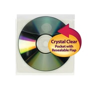 """Smead® Self-Adhesive Poly CD/DVD Pocket, Security Flap, 5""""W x 4-15/16""""H, Clear, 10/Pack (68144)"""
