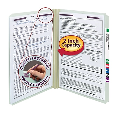 Smead® Pressboard File Folder with SafeSHIELD® Fasteners, Straight-Cut Tab, 2
