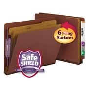 Smead® End Tab Pressboard Classification Folder with SafeSHIELD®, Letter, Red, 10/Box (26860)