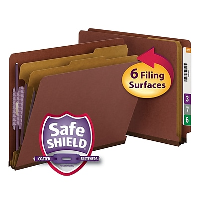 Smead End Tab Pressboard Classification File Folder with SafeSHIELD Fasteners, Letter, Gray/Green, 10/Box (26820)