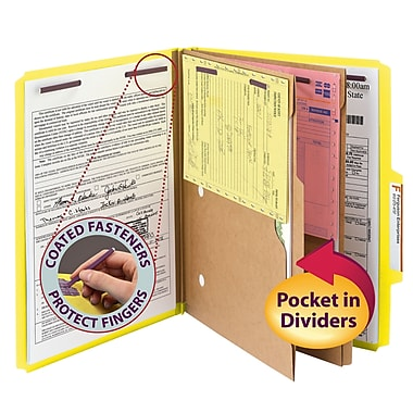 Smead® Pressboard Classification Folder w/ Pocket Divider, SafeSHIELD® Fasteners, 2