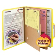 "Smead® Pressboard Classification Folder w/ Pocket Divider, SafeSHIELD® Fasteners, 2"" Exp., Letter, Yellow, 10/Box (14084)"