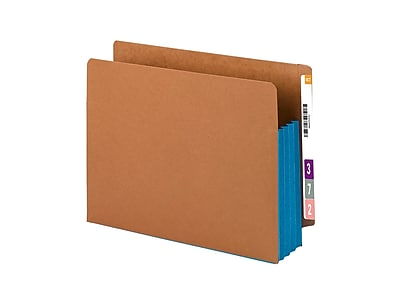 Smead® Redrope Drop-Front End Tab File Pockets with Colored Tyvek® Gussets, Blue, Letter, 10/Box (73679)