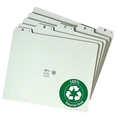 Smead Pressboard Guides, Plain 1/5-Cut Tab (A-Z), Set of 25, Letter Size, Gray/Green, 25/Set (50376)