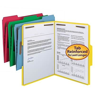 Smead Reinforced 3-Tab Colored File Folders, 2-Fasteners, Letter, Assorted, 50/Bx (11975)