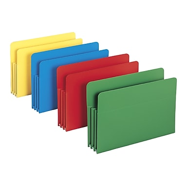 Smead® Poly File Pocket, Straight-Cut Tab, 3-1/2in. Expansion, Legal Size, Assorted Colors (73550)