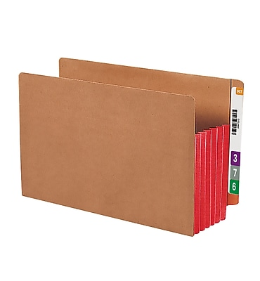 Smead Redrope Drop-Front End Tab File Pockets with Colored Tyvek Gussets, Red, Legal, 10/Box (74696)