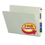 "Smead®  End Tab Pressboard File Folder, Straight-Cut Tab, 2"" Expansion, Letter Size, Gray/Green, 25 per Box (26210)"