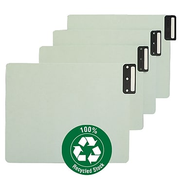 Smead End Tab 100% Recycled Pressboard Guides, Vertical Metal Tab (Blank), Extra Wide Letter Size, Gray/Green (61635)