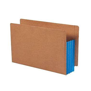 Smead® Redrope Drop-Front End Tab File Pockets with Colored Tyvek® Gussets, Blue, Legal, 10/Box (74679)