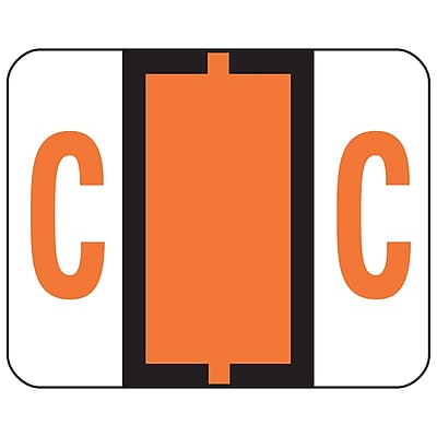 Smead BCCR Bar-Style Color-Coded Alphabetic Label, C, Label Roll, Dark Orange, 500 labels/Roll, (67073)