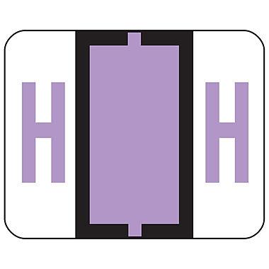 Smead® BCCR Bar-Style Color-Coded Alphabetic Label, H, Label Roll, Lavender, 500 labels/Roll, (67078)