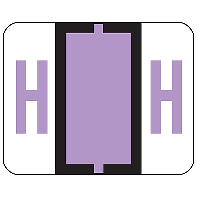 Smead BCCR Bar-Style Color-Coded Alphabetic Label, H, Label Roll, Lavender, 500 labels/Roll, (67078)