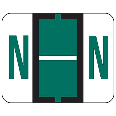 Smead BCCR Bar-Style Color-Coded Alphabetic Labels, N, Label Roll, Dark Green, 500/Pk, (67084)